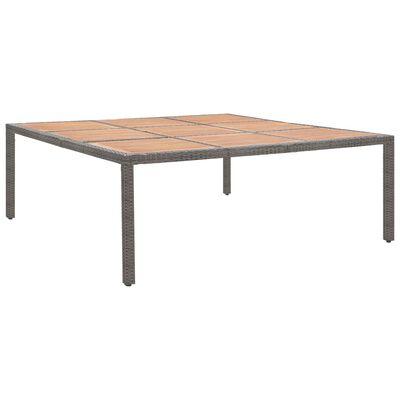 vidaXL szürke polyrattan és akácfa kerti asztal 200 x 200 x 74 cm