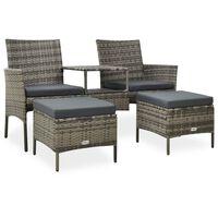 vidaXL 2 személyes szürke polyrattan kerti kanapé asztallal/zsámollyal
