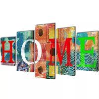 Nyomtatott vászon falikép szett HOME felirattal 100 x 50 cm