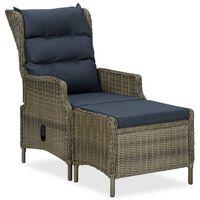vidaXL barna dönthető polyrattan kerti szék lábzsámollyal