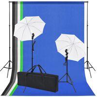 vidaXL fotó stúdió szett: 5 db színes háttér és 2 db ernyő