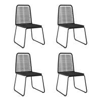 vidaXL 4 db fekete polyrattan kültéri szék