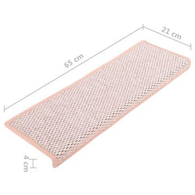 vidaXL 15 db szizál hatású piros öntapadó lépcsőszőnyeg 65 x 25 cm