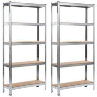 vidaXL 2 db ezüstszínű acél és MDF tárolópolc 90 x 30 x 180 cm