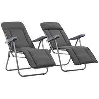 vidaXL 2 db szürke összecsukható kerti szék párnával