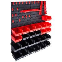 vidaXL 29 darabos piros és fekete tárolódoboz-készlet fali panelekkel