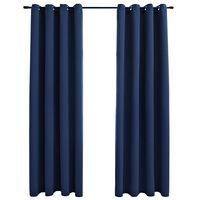 vidaXL 2 db kék sötétítőfüggöny fémgyűrűkkel 140 x 175 cm