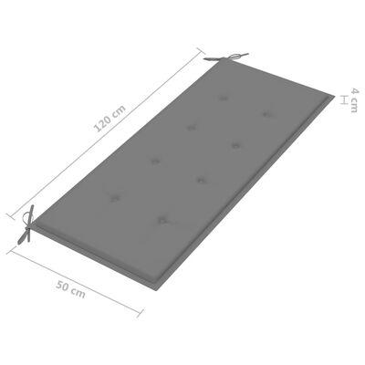 vidaXL tömör akácfa kerti pad párnával 120 cm