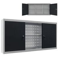 vidaXL szürke és fekete ipari stílusú fém fali szerszámos szekrény