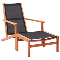 vidaXL tömör eukaliptuszfa és textilén kerti szék lábtartóval