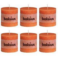6 db Bolsius rusztikus oszlopgyertya 100 x 100 mm narancssárga