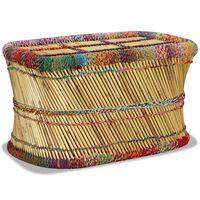 vidaXL bambusz dohányzóasztal sokszínű chindi mintával