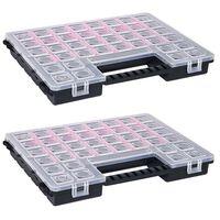 vidaXL 2 db műanyag tárolódoboz állítható elválasztókkal 385x283x50 mm