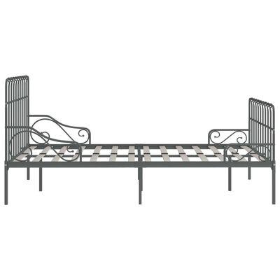 vidaXL szürke fém ágykeret lécezett ágyráccsal 120 x 200 cm