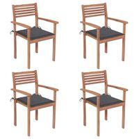 vidaXL 4 db tömör tíkfa kerti szék antracitszürke párnával