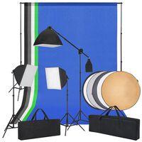 vidaXL fotó stúdió szett, softbox fények, háttérfüggönyök, reflektor