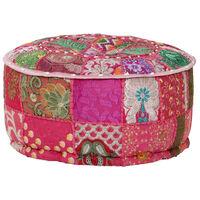vidaXL kézzel készült kerek rózsaszín pamut patchwork puff 40 x 20 cm