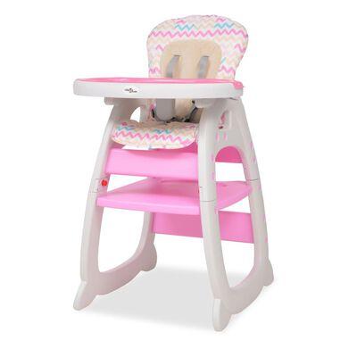 vidaXL 3 az 1-ben, átalakítható, rózsaszín etetőszék asztallal