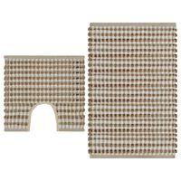vidaXL kézzel szőtt juta fürdőszobaszőnyeg-szett, természetes/fehér