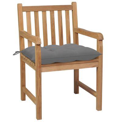 vidaXL 8 db tömör tíkfa kerti szék szürke párnával