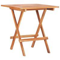 vidaXL tömör tíkfa összecsukható bisztróasztal 60 x 60 x 65 cm