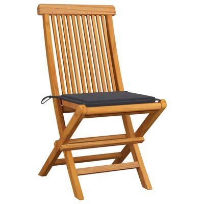 vidaXL 2 db tömör tíkfa kerti szék antracitszürke párnákkal