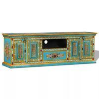 vidaXL kézzel festett kék, tömör mangófa TV-szekrény