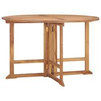 vidaXL összecsukható tömör tíkfa kerti étkezőasztal Ø120 x 75 cm