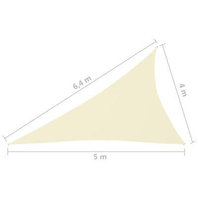 vidaXL krémszínű háromszögű oxford-szövet napvitorla 4 x 5 x 6,4 m