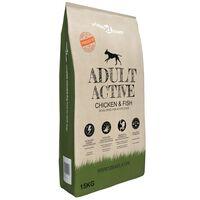 "vidaXL ""Adult Active Chicken & Fish"" prémium száraz kutyatáp 15 kg"