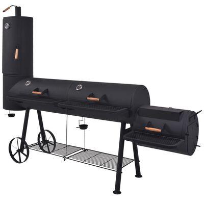 vidaXL faszenes BBQ grillsütő alsó polccal, fekete XXXL