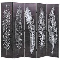 vidaXL fekete-fehér toll mintás paraván 200 x 170 cm