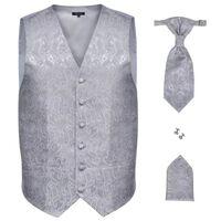 Férfi Praisley esküvői mellény szett méret 48 ezüst szín