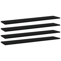 vidaXL 4 db fekete forgácslap könyvespolc 100 x 20 x 1,5 cm