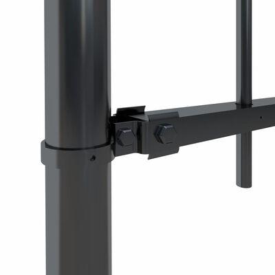 vidaXL fekete hajlított tetejű acélkerítés 3,4 x 0,8 m