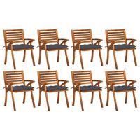 vidaXL 8 db tömör akácfa kerti szék párnákkal
