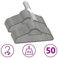 vidaXL 50 db szürke csúszásmentes bársony ruhaakasztó