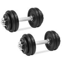 vidaXL 18 részes öntöttvas súlyzókészlet 30 kg