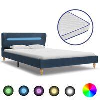 vidaXL kék LED-es szövetágy memóriahabos matraccal 140 x 200 cm