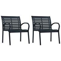 vidaXL 2 darab fekete acél és WPC kerti szék