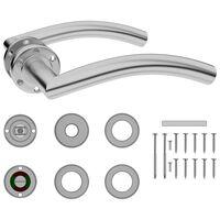 vidaXL rozsdamentes acél ívelt ajtókilincs szett WC zárral