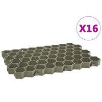 vidaXL 16 db zöld műanyag gyeprács 60 x 40 x 3 cm