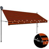 vidaXL narancssárga-barna kézzel feltekerhető LED-es napellenző 350 cm
