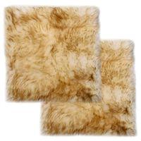 vidaXL 2 db barna melanzsszínű valódi báránybőr székpárna 40 x 40 cm