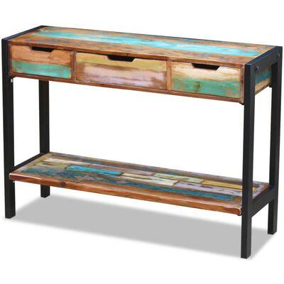 vidaXL 3 fiókos tömör újrahasznosított fa tálalóasztal