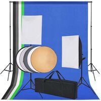 vidaXL fotó stúdió szett: 5 db színes háttér és 2 db softbox