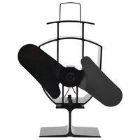 vidaXL fekete hővel meghajtott kétlapátos kandalló ventilátor