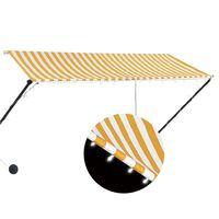 vidaXL feltekerhető sárga és fehér napellenző LED-del 300 x 150 cm