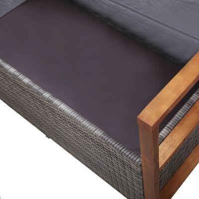 vidaXL szürke polyrattan és tömör akácfa tárolópad 110 cm