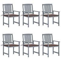 vidaXL 6 db szürke tömör akácfa kerti szék párnákkal